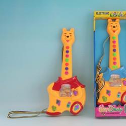 Đồ chơi đàn con thú gấu Pooh có dây đeo, phát nhạc, đèn, màn hình chạy