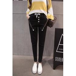 quần jeans lưng thun dây kéo xéo Mã: QD1236 - ĐEN