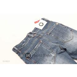 Quần jeans nam ống côn, xanh mài, xước nhẹ 16-H623