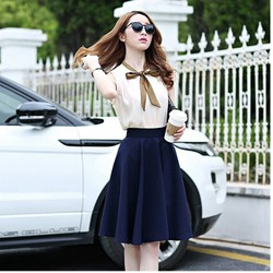 Hàng shop Chân váy xòe dài + áo nơ cổ duyên dáng - LV1160