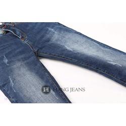 Quần jeans nam ống côn, xanh mài xước nhẹ 16-J756