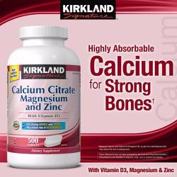 Hỗ trợ xương khớp Kirkland Signatur Calcium Citrate 500 mg, 500 viên