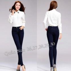 Quần jean lưng cao 1 nút xanh đen TVQN06