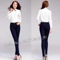 Quần jean lưng cao 1 nút xanh đen QNU30