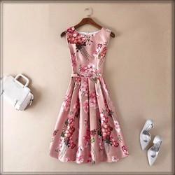 Hàng order: Đầm hồng họa tiết hoa MX125