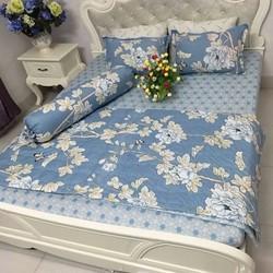 Bộ ga giường Poli hình hoa chấm bi xanh Tmark