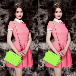 Đầm hồng xòe phối viền trắng VVD329