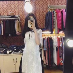 Sét áo dài ren viền nơ + chân váy xoè