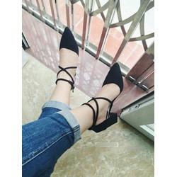 Giày cao gót quai chéo đế trụ