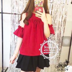 Set áo khoét vai nhúng bèo kèm chân váy - SSH579