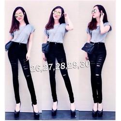 Quần jean đen nữ lưng cao rách 2 bên cá tính - AV3375