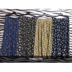 Chân váy maxi in hoa hàng QC