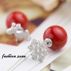 hoa tai cho nữ hàn quốc với ngọc trai màu đỏ phiên bản giáng sinh