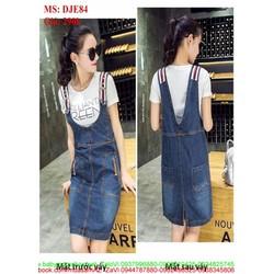 Váy yếm jean form dài viền sọc màu trẻ trung phong cách DJE84