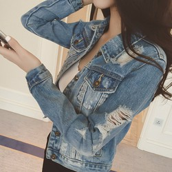 áo khoác jeans rách Mã: AO2762