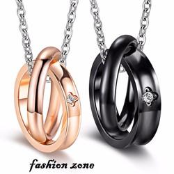 dây chuyền cặp nam nữ hình hai chiếc nhẫn đính đá lồng vào nhau
