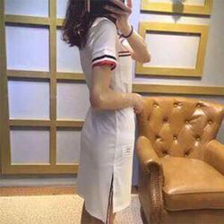 Áo váy nữ pha màu xẻ tà