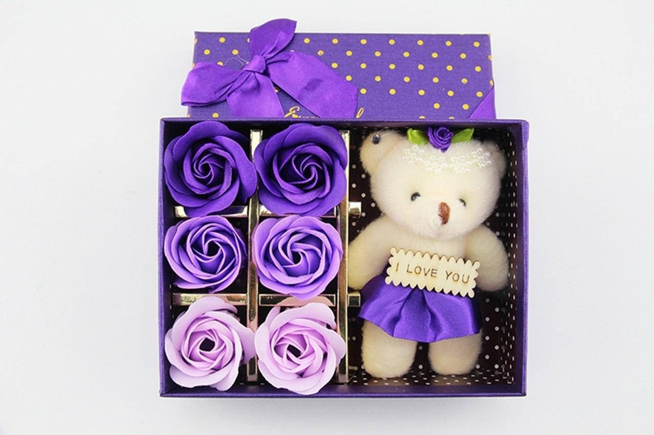 hoa hồng sáp thơm hộp 6 bông kèm GẤU 4