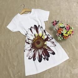 Đầm suông tay con hoạ tiết hoa cúc lớn