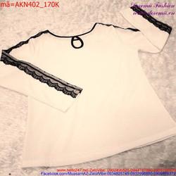 Áo kiểu croptop tay lửng thiết kế thắt lưng phong cách AKN409