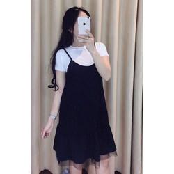 Set áo + váy yếm phối ren lưới