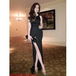 Đầm dạ hội xẻ đùi cổ tròn kiểu dáng đơn giản quyến rũ DV148 View