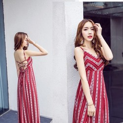 Đầm maxi đan dây lưng