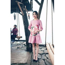 Đầm suông hồng in hoa lai bèo siêu cute - DKN3125
