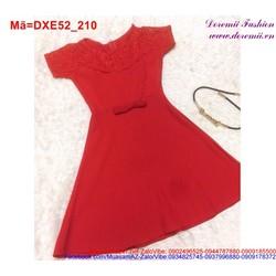 Đầm xòe vạt xéo đính nơ phối ren xinh iu DXE52