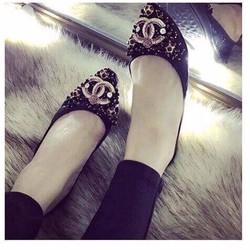 giày búp bê đính đá tag logo cao cấp 1852
