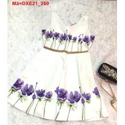 Đầm xòe sát nách in hoa tím tag vàng nổi bật DXE21