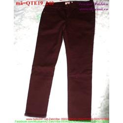 Quần jean nữ lưng trễ 1 nút đơn giản form chuẩn QTE19
