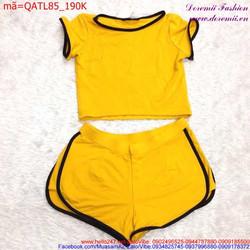 Bộ đồ nữ tay con cổ tròn quần short viền đen sành điệu QATL85
