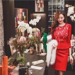 Đầm ren dự tiệc Peplum đỏ cao cấp