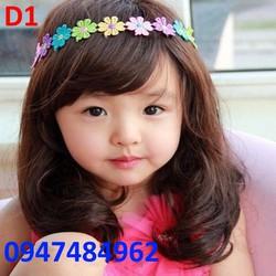 Bộ tóc giả Hàn quốc cho bé xoăn uốn lọn D1