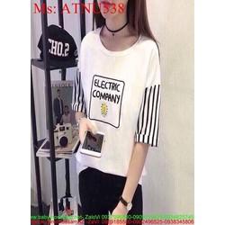 Áo thun nữ ngắn tay kẻ sọc hình bóng đèn phong cách ATNU538