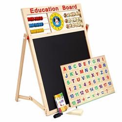 Bảng gỗ 2 mặt kèm bộ chữ số bằng gỗ gắn nam châm cho bé