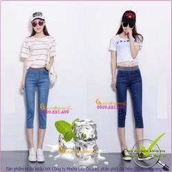 Quần jeans lửng nữ lưng cao lưng thun GLQ028