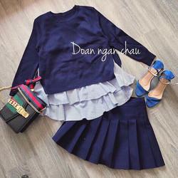 Set áo thun áo 2 dây dài sọc chân váy hàng thiết kế