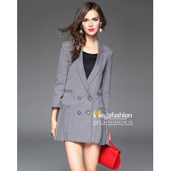 Áo khoác nữ vest cách điệu dáng xòe xếp ly bên hông - Megafashion