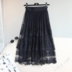 Chân váy ren tầng dài phối lưới