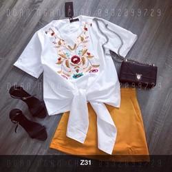 Set áo cột nơ + quan váy