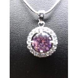 Dây chuyền mặt đá sapphire hồng, hạt pha lê