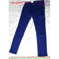 Quần Jean nữ 1 nút lưng trễ xanh đậm đơn giản form đẹp QTE17