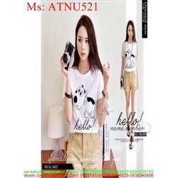 Áo thun nữ hình chú cún hello dễ thương ATNU521