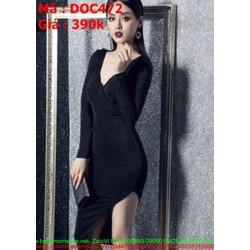 Đầm body dự tiệc đen xẻ cổ V và xẻ đùi sexy DOC472 View 390,000