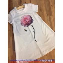 Đầm suông tay con hình cây hoa hồng dễ thương DSV47