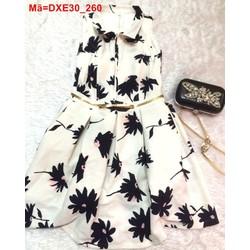 Đầm xòe cổ bẻ in hoa phối nịt kiểu trẻ trung năng động DXE30