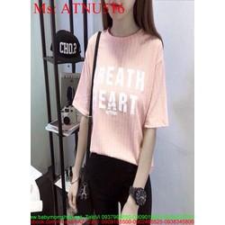Áo thun nữ ngắn tay hồng in chữ trắng dễ thương xinh đẹp ATNU516