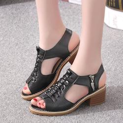FS02D- Sandal cao gót có khóa kéo